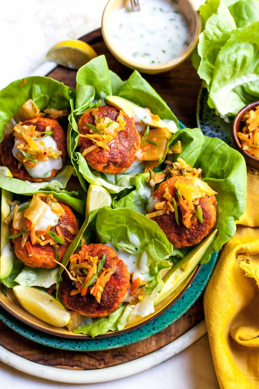 Curried Salmon Lettuce Wraps with Kimchi and Yogurt