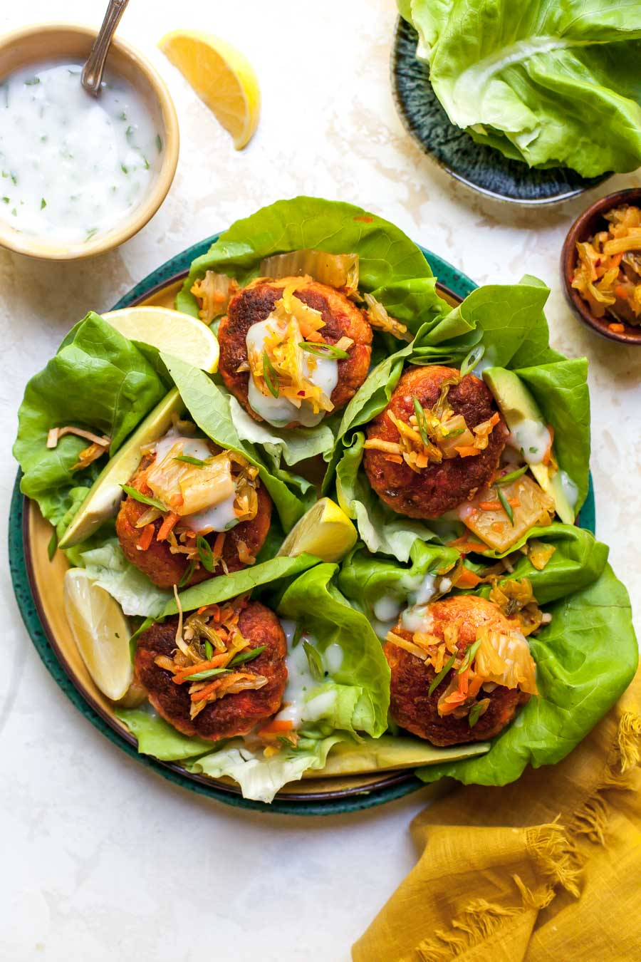 Curried Salmon Burger Lettuce Wraps with Kimchi and Yogurt Sauce