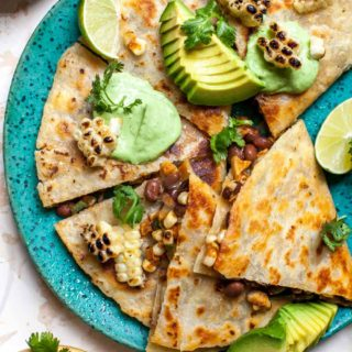 Mexican Grilled Corn Quesadillas with Avocado-Cilantro Cream