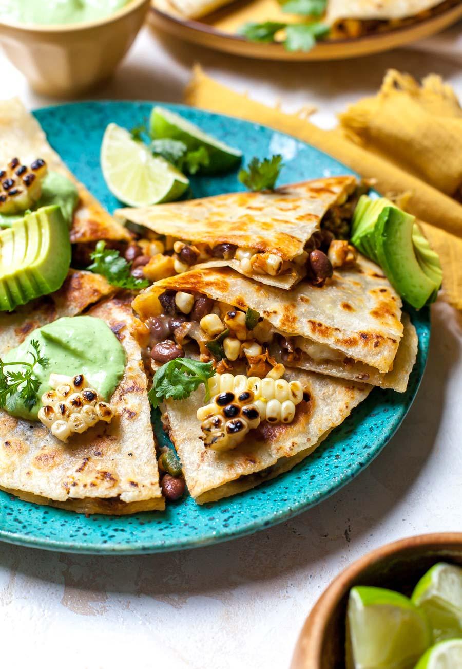 Elote Corn Quesadillas with Avocado-Cilantro Cream