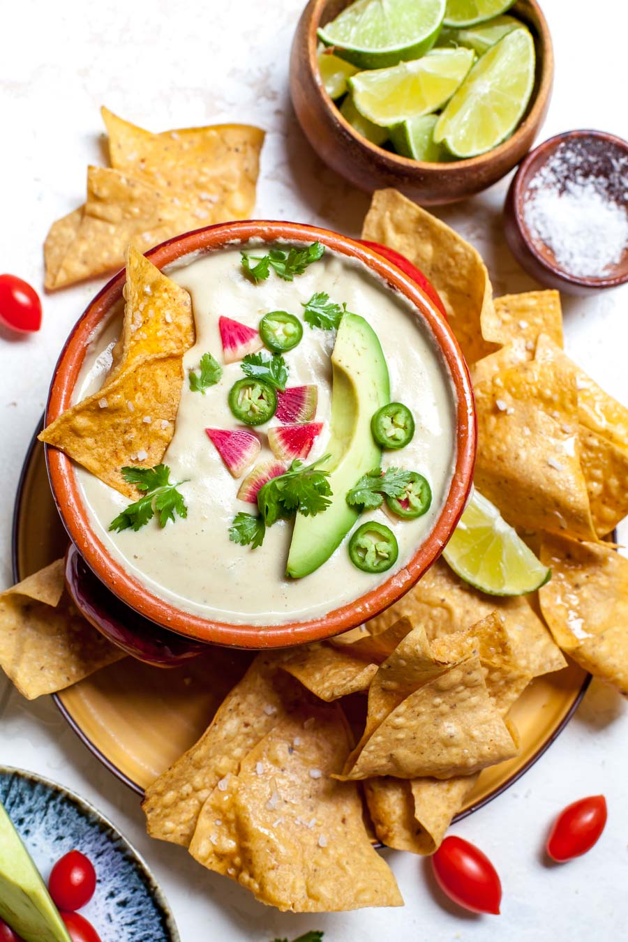 Vegan Hot Queso with Green Chiles and Tortilla Chips