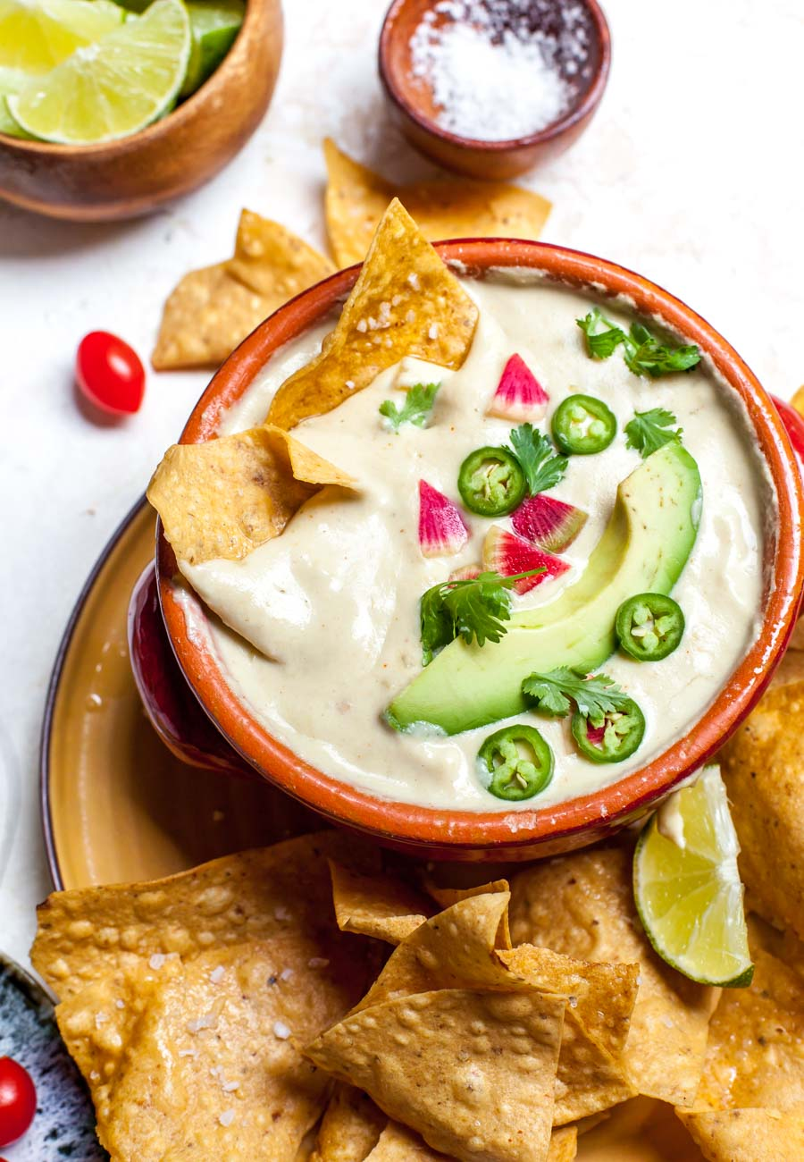 Plant-based Queso Dip with Tortilla Chips