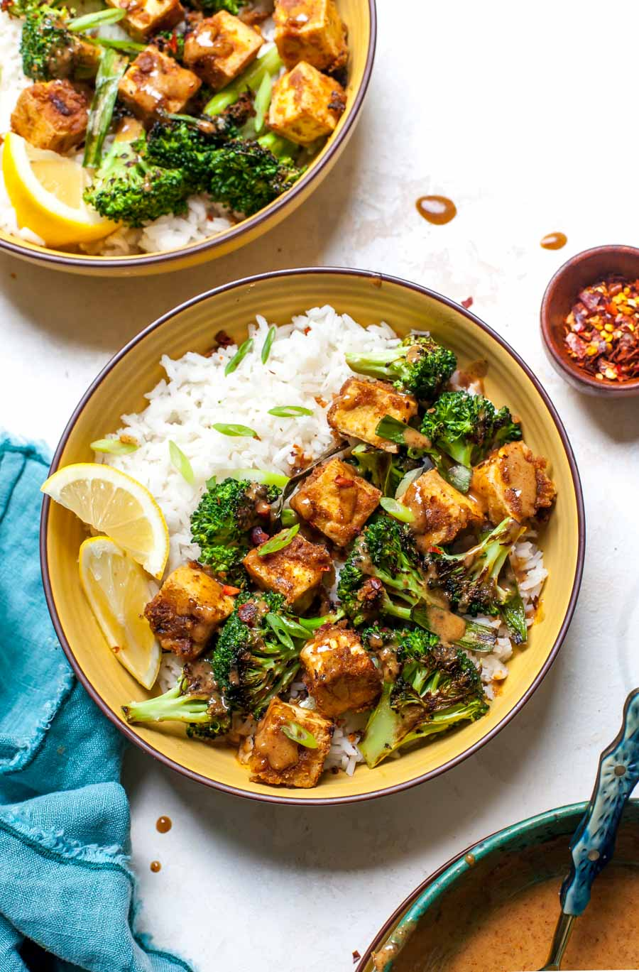 Crispy Tofu with Broccoli, Scallions, Rice and Almond Butter Sauce