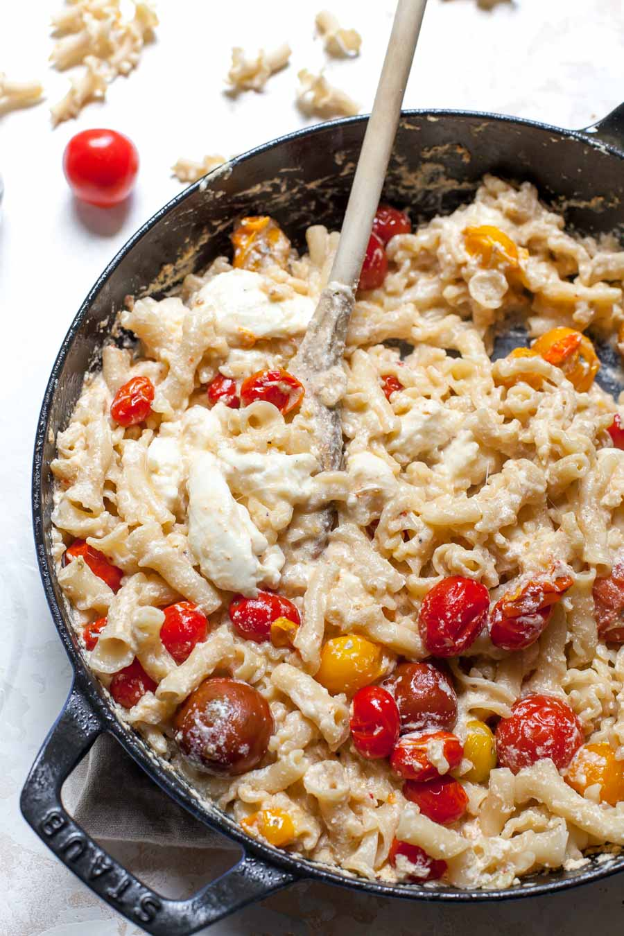 Mozzarella and Ricotta Mac and Cheese with Burst Cherry Tomatoes
