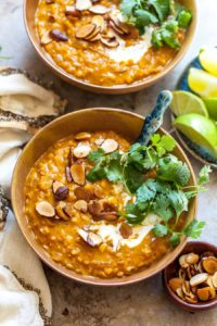 Creamy Lentil Soup with Curry Spices and Golden Garam Masala Almonds