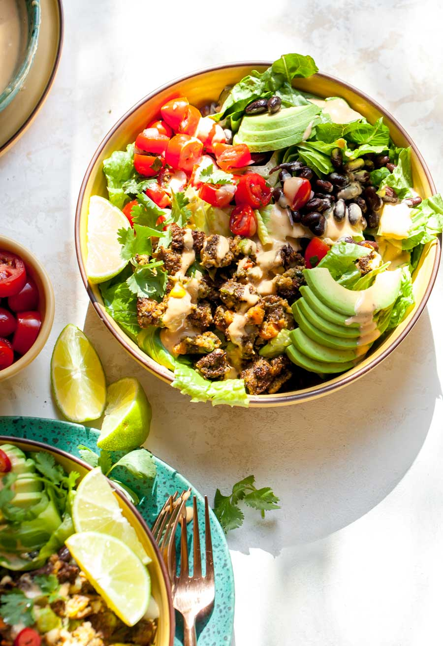 Vegetarian Tex-Mex Salads with Frozen Veggie Burger, Black Beans, Pico, and Chipotle Dressing