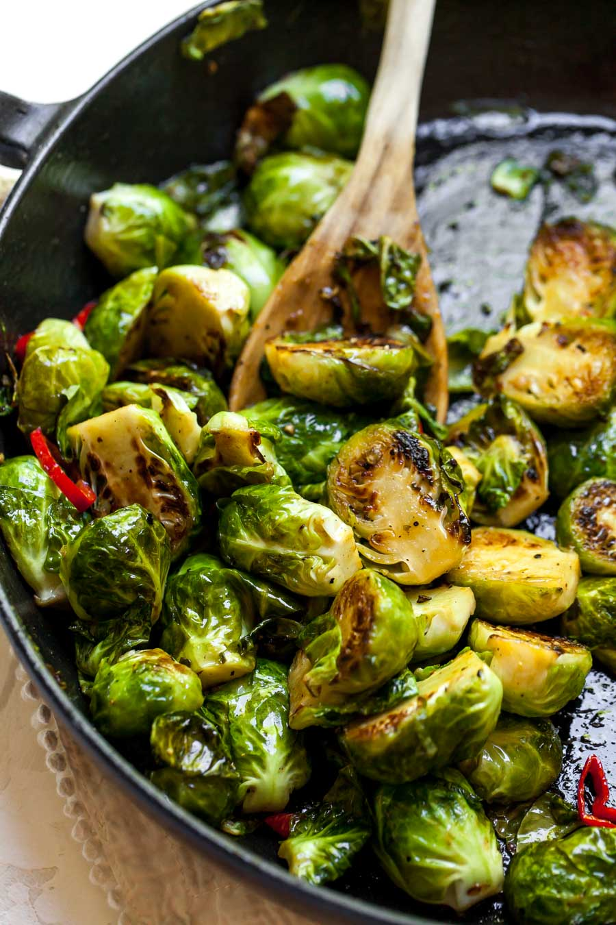 Stovetop Brussels Sprouts with Chiles