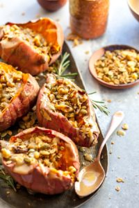 Breakfast Stuffed Sweet Potato with Stovetop Granola and Maple-Tahini Butter