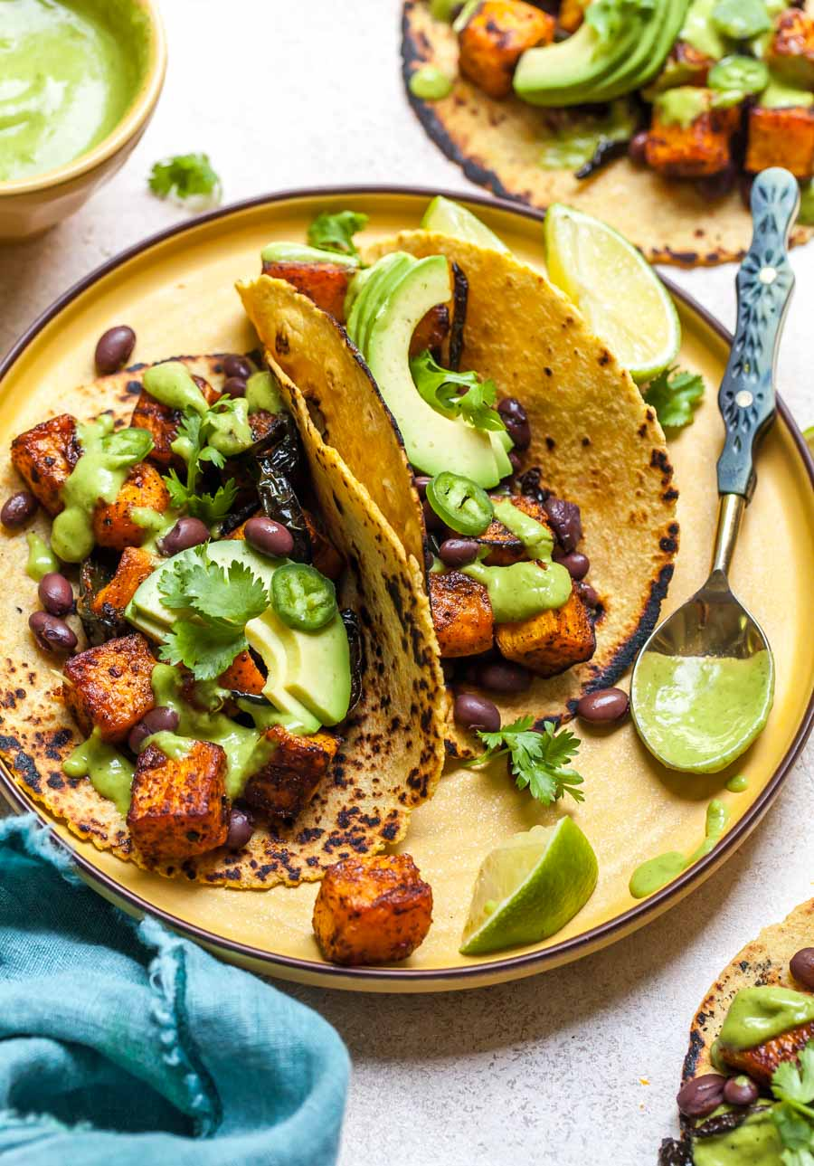 Roasted Veggie Tacos with Butternut Squash and Avocado-Cilantro Sauce