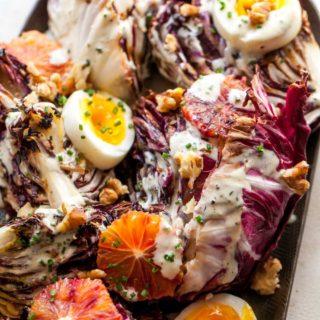 Grilled Radicchio Salad with Creamy Miso Dressing