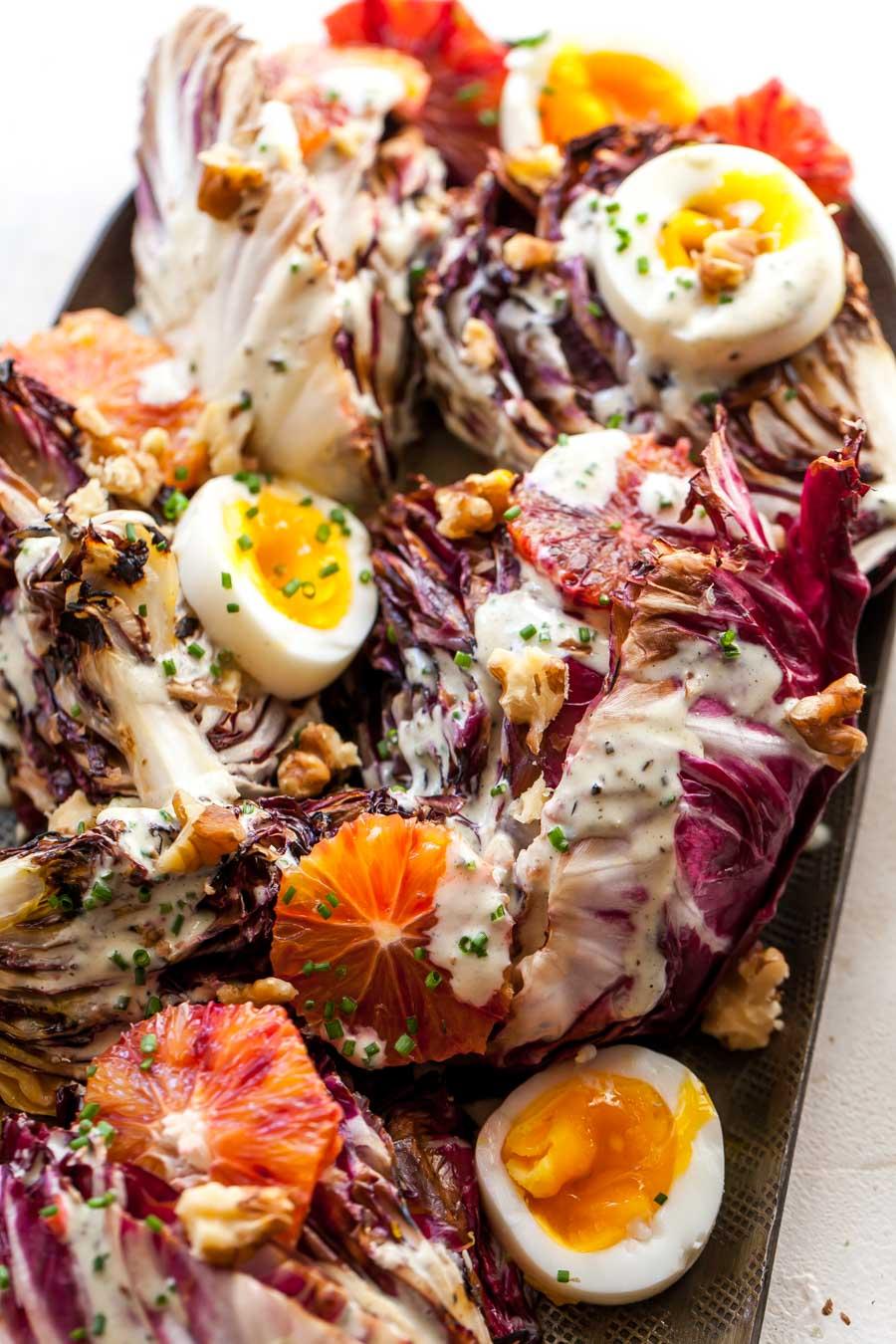 Grilled Salad with Jammy Eggs, Walnuts, and Creamy Walnut Dressing