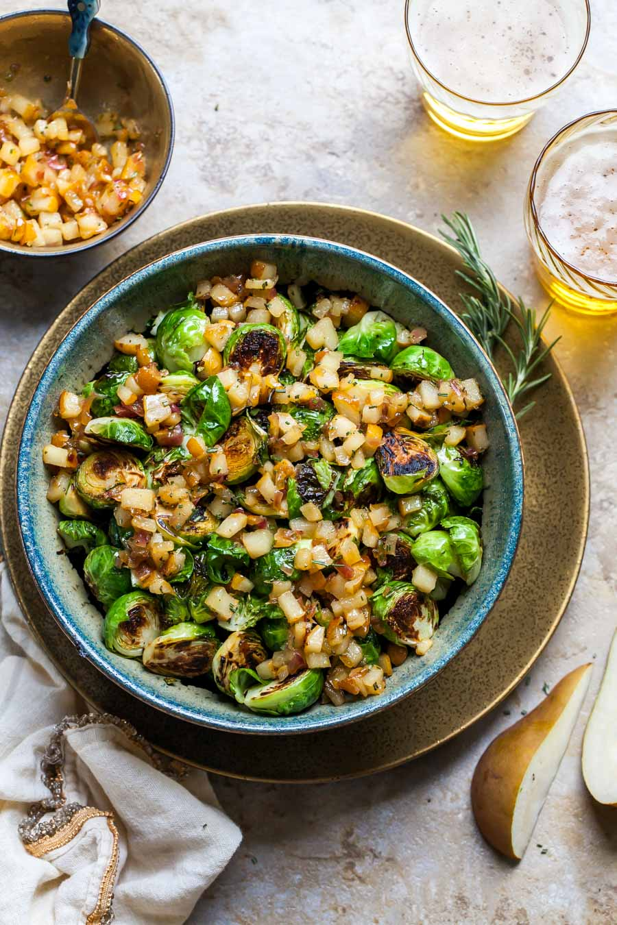 Sautéed Brussels Sprouts with Pear and White Balsamic Chutney