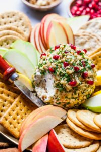 Traditional Cheese Ball with Goat Cheese, Walnuts, Dates, and Pomegranate