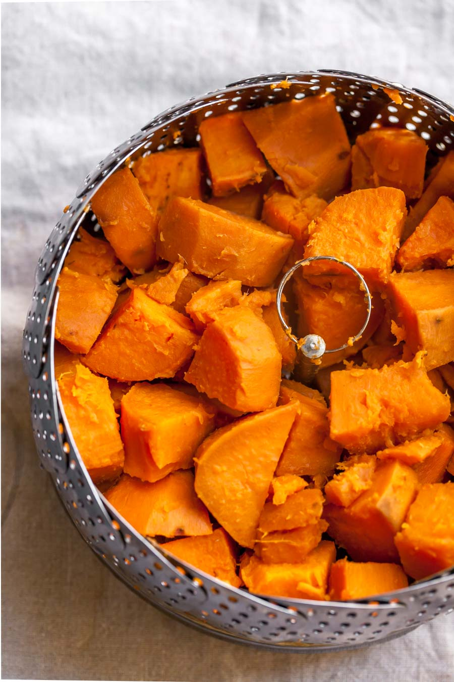 Cubed Steamed Sweet Potatoes on the Stove