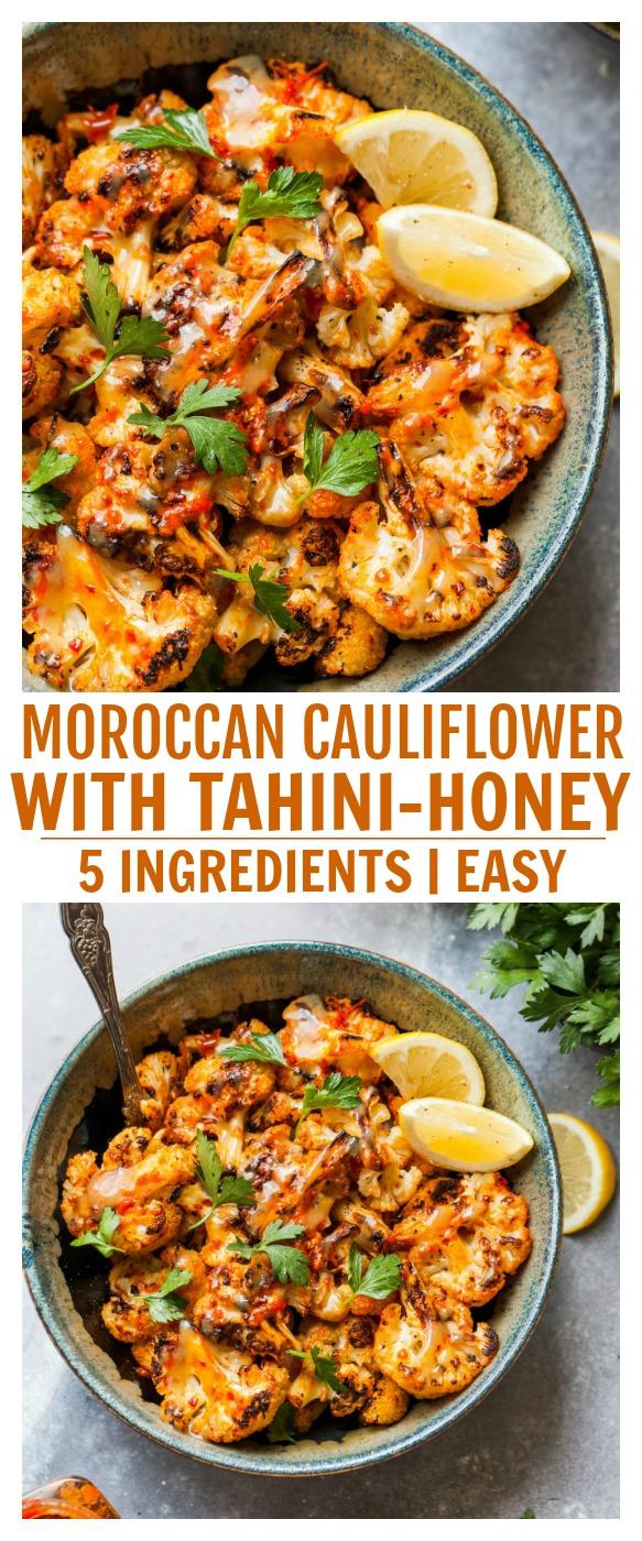 Moroccan Cauliflower with Tahini Glaze for Pinterest