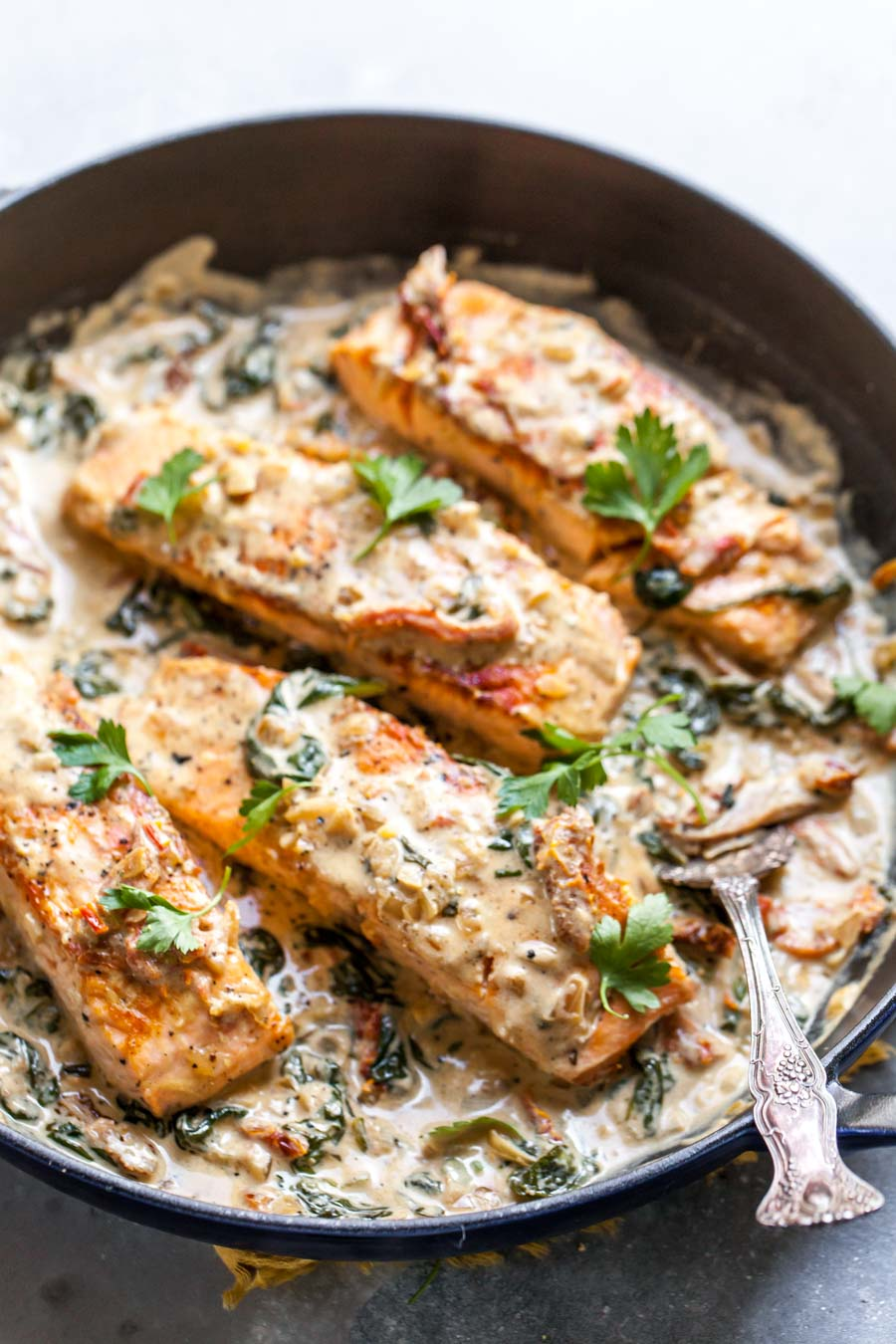One Skillet Salmon Dinner with Creamy Sun-Dried Tomato Sauce