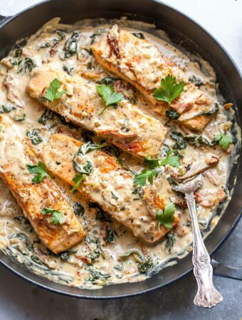 30 Minute Salmon Dinner with Sun-Dried Tomato and Spinach Cream Sauce