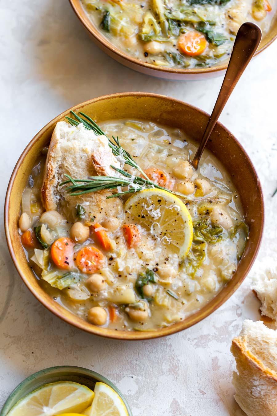 Nourishing Vegetarian White Bean Stew with Lemon, Parmesan, and Rosemary