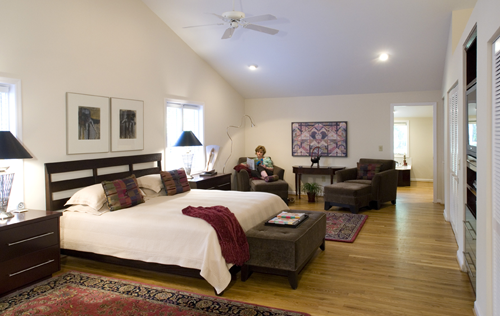 Spacious Bedroom With Vaulted Ceilings