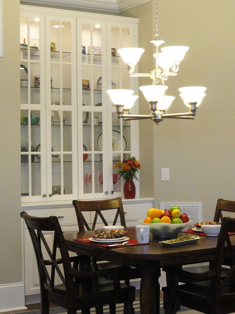 Dining Room with Built In Glass Breakfront