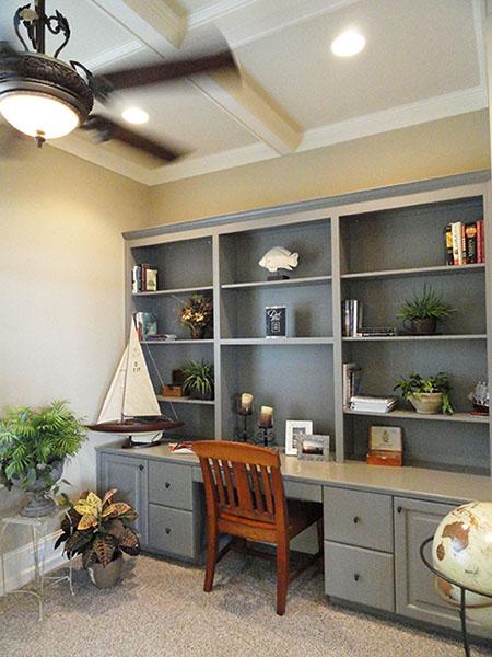 Office with custom bookshelves