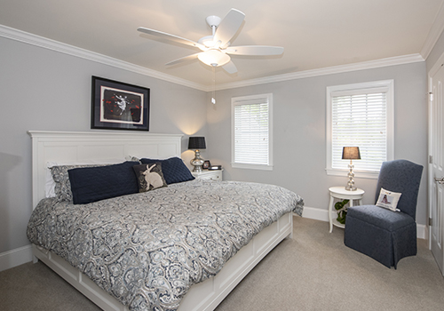Bedroom with crown molding and carpeting