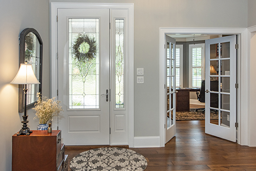 Foyer with french doors leading to office