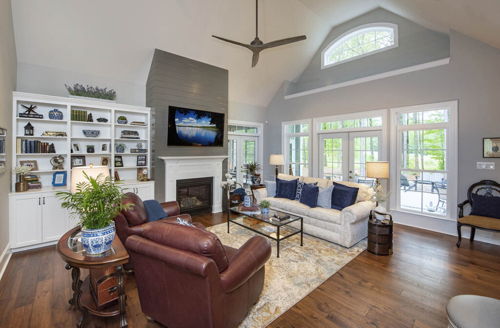 Great room with built in shelves and fireplace
