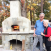 Just a day after completion, friends gathered for Thanksgiving Pizza!