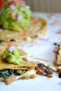vegan quesadillas with homemade guacamole