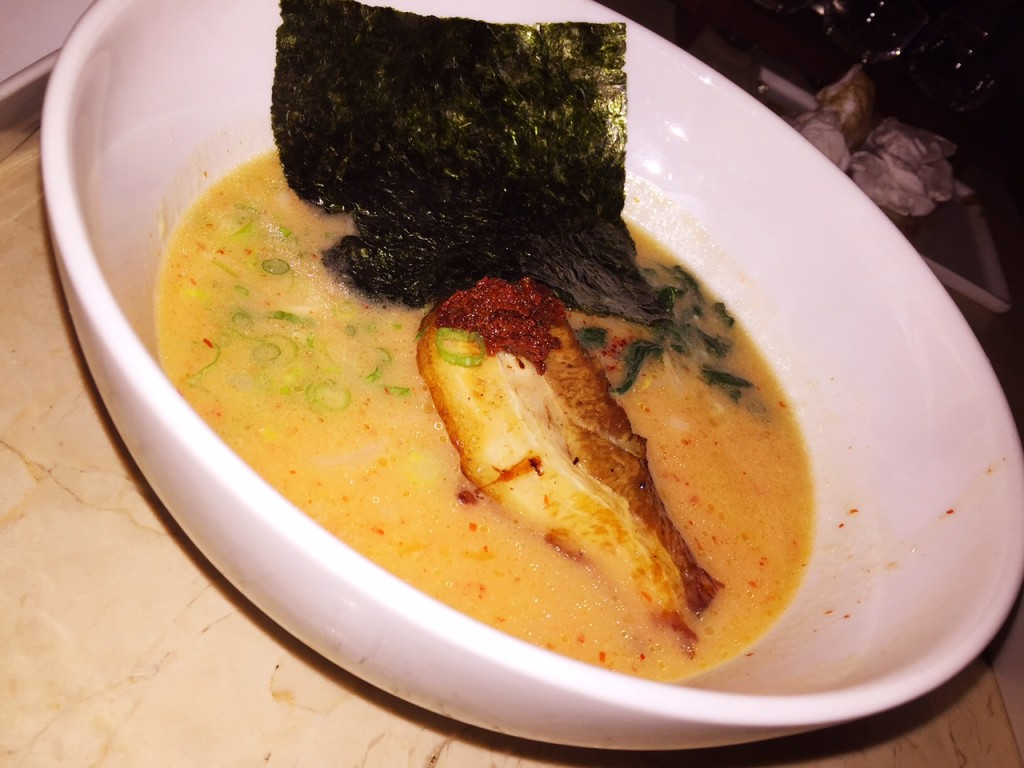 Spicy tonkatsu ramen with pork belly at Kush.