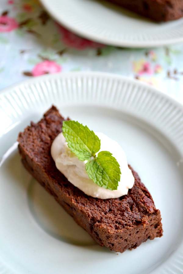 chocolate sweet potato cake with coconut creme fraiche