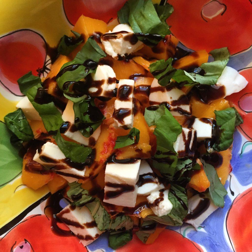 peach, mozzarella, basil, summer salad