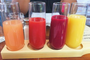 From left: Grapefruit, Strawberry, Blood Peach, Orange