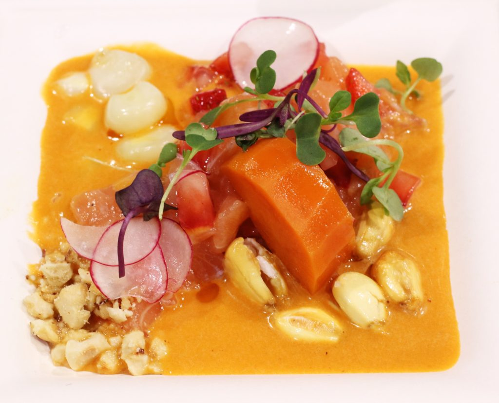 Ceviche Nikkei, salmon, panca yuzu leche de tigre, strawberries, radish, cancha, sweet potato, chorizo oil, foodie, farm shed dinner, pacha chefs, tres dallas, dallas farmers market