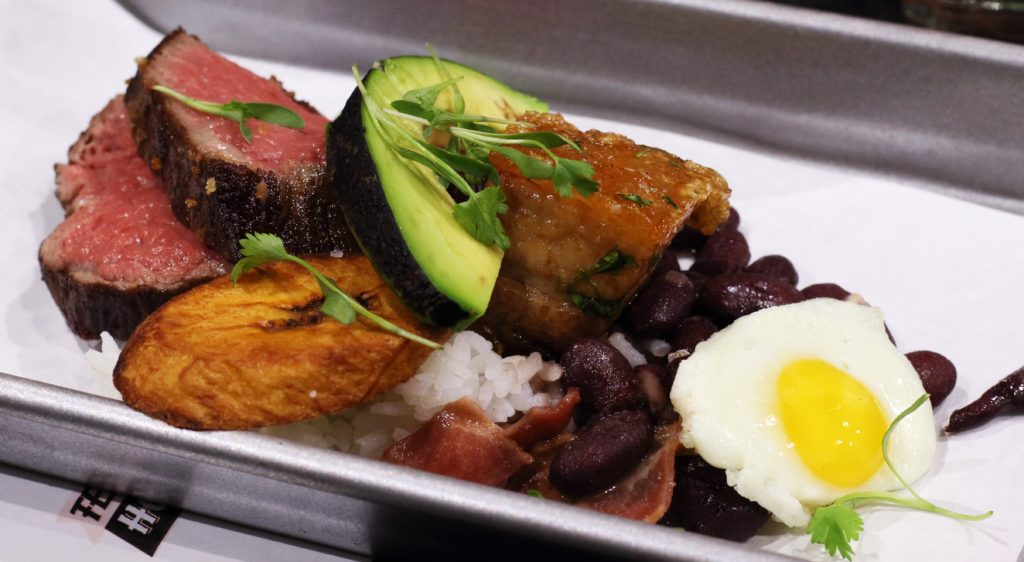 Mini Bandeja Paisa, beef tenderloin, chicharron, red beans, jasmine rice, ahogado, torched avocado, foodie, farm shed dinner, pacha chefs, tres dallas, dallas farmers market