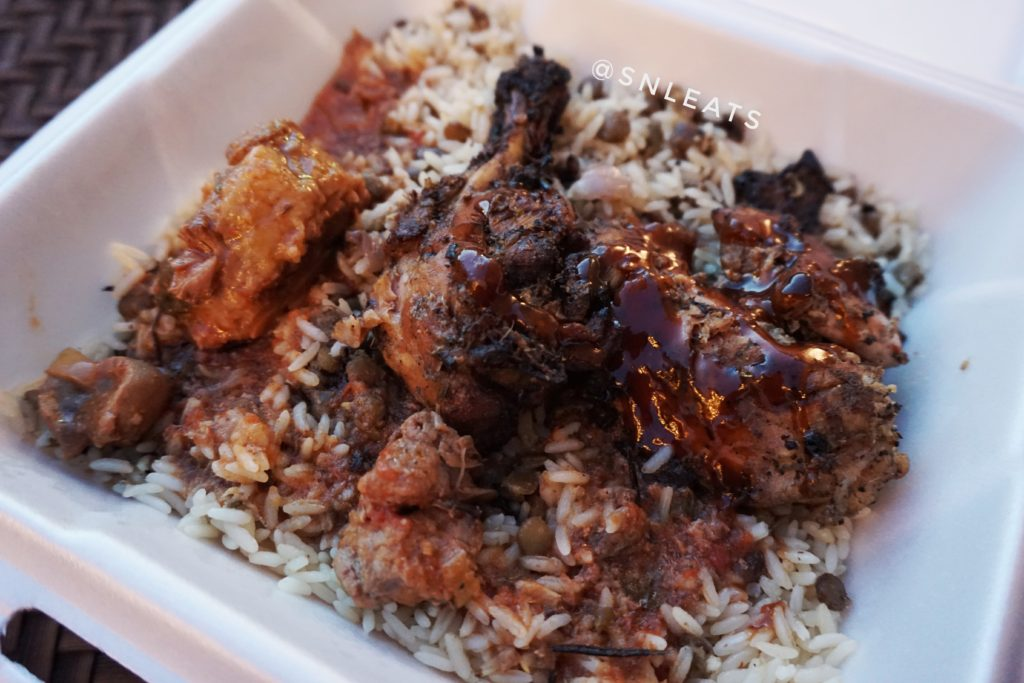 Jerk Chicken on lentil rice with Oxtail Gravy
