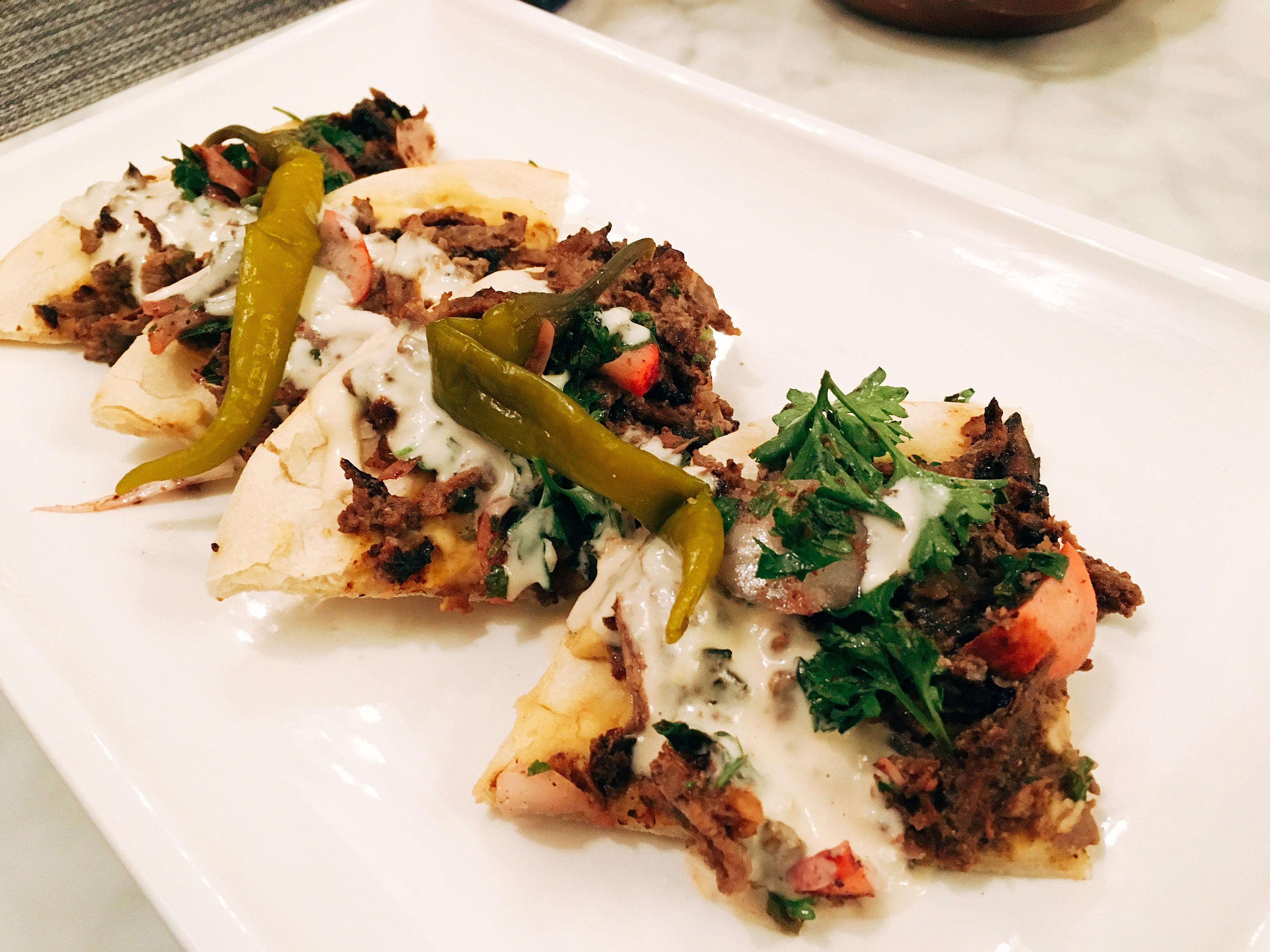 Beef shawarma flatbread.