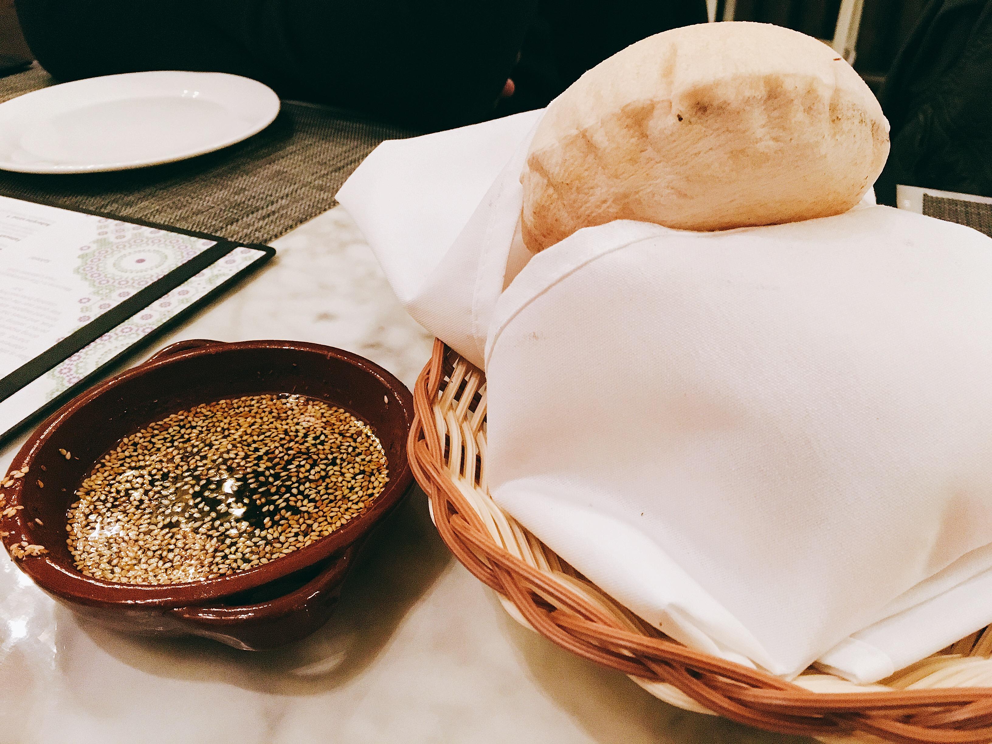 Zatar and warm pita.