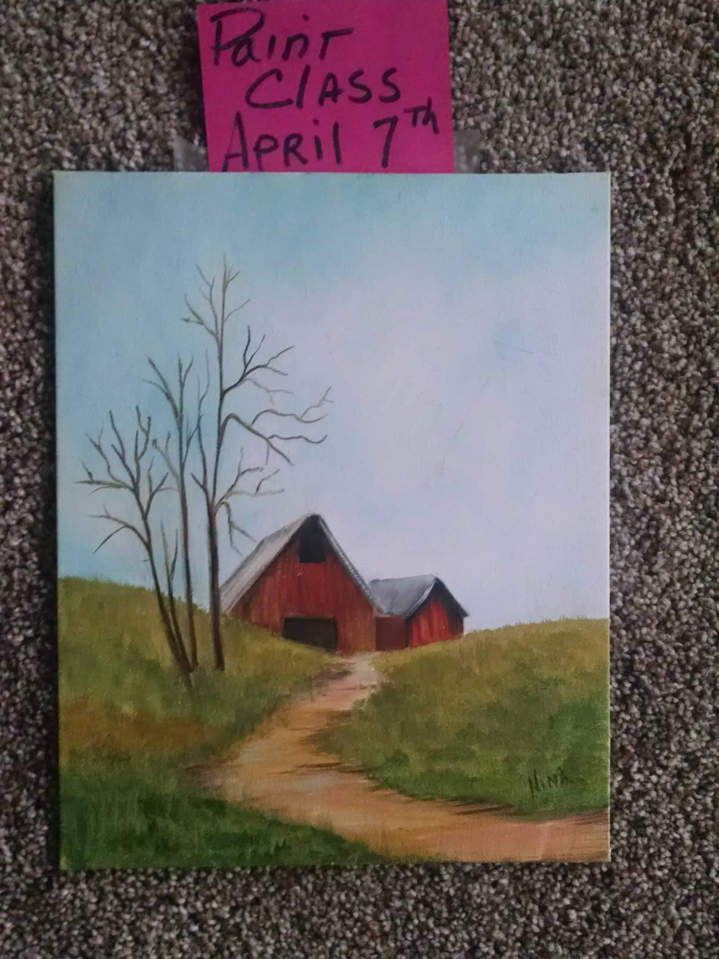 April 7 Oil Paint Barn with Nina