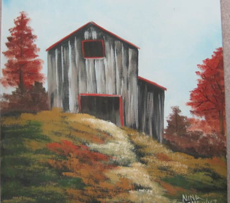 Nov. 2, Sat. Oil Paint a Distressed Barn with Nina S.  9:30 – 11:30 p.m.