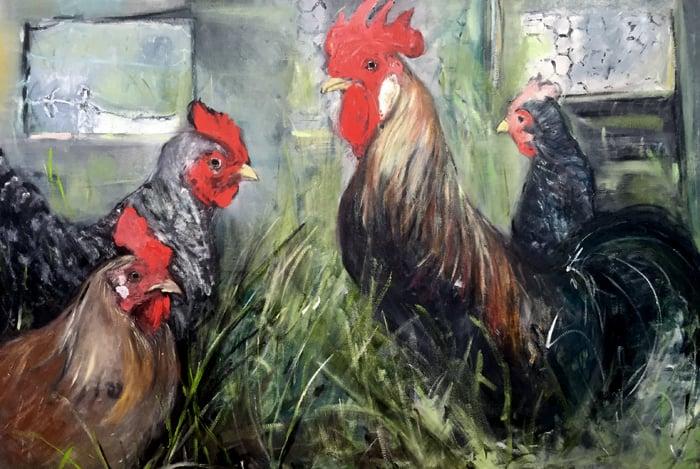 Tanja Gardner Chickens 24x30