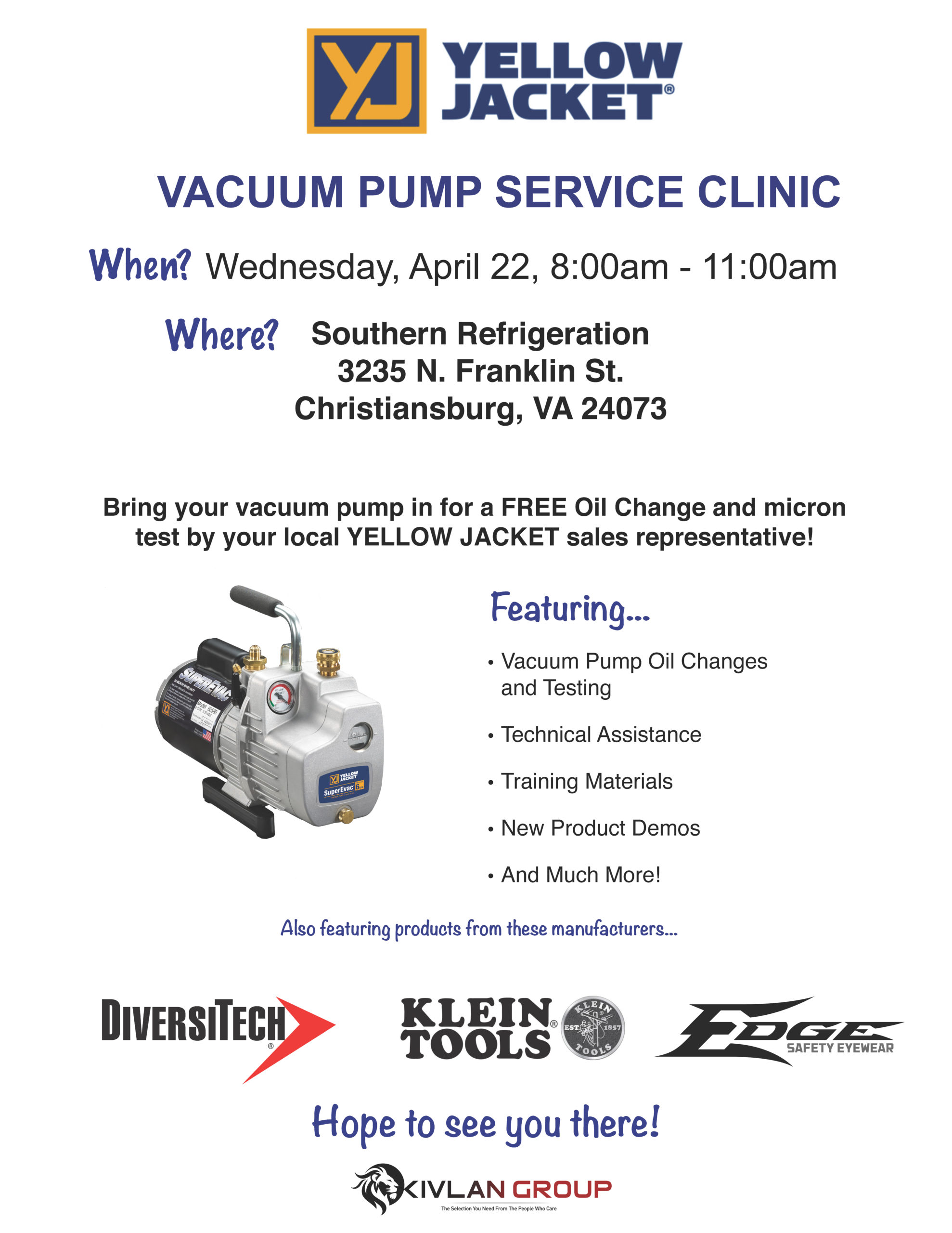 Yellow Jacket Vacuum Pump Service – Christiansburg @ Southern Refrigeration - Christiansburg