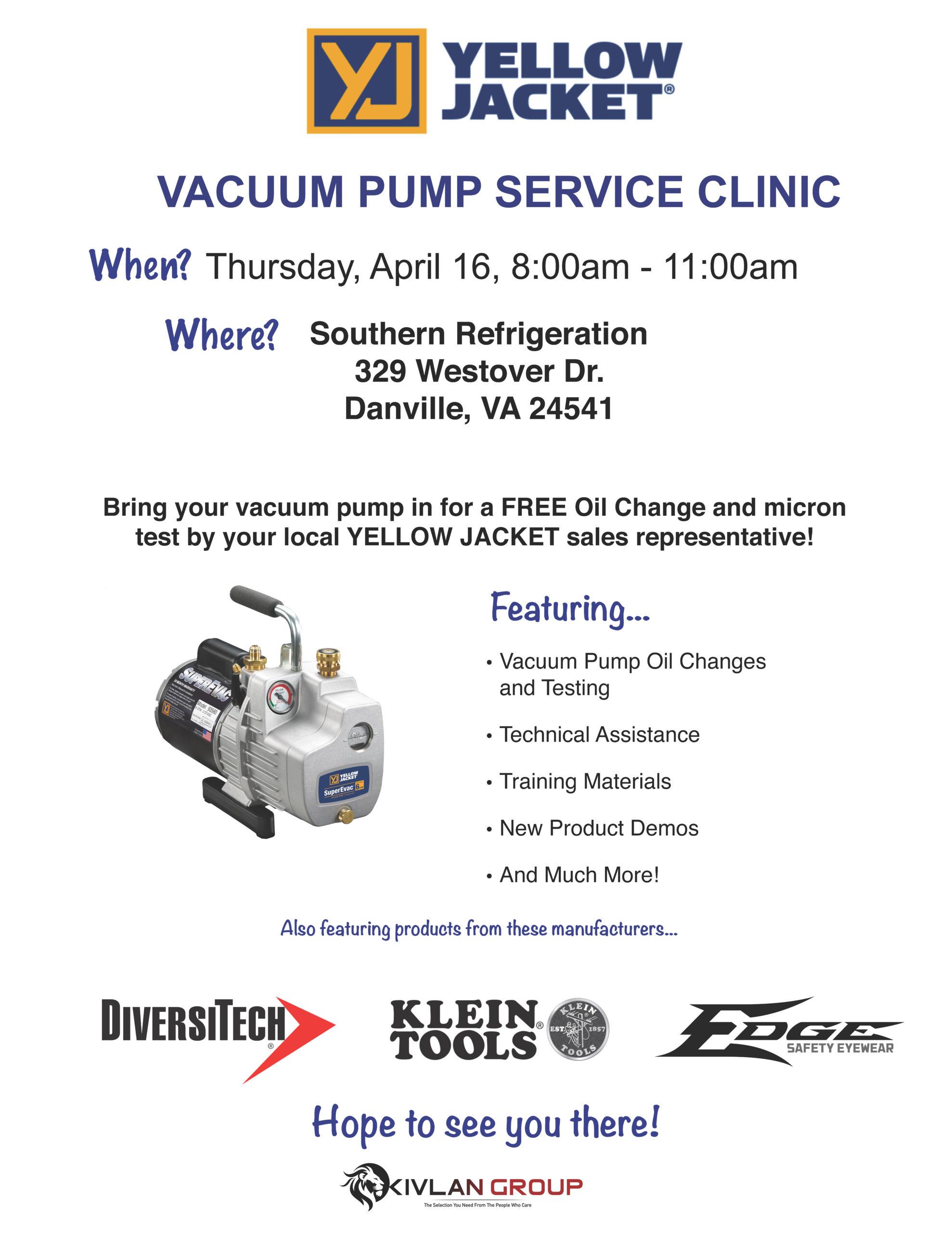 Yellow Jacket Vacuum Pump Service – Danville @ Southern Refrigeration - Danville