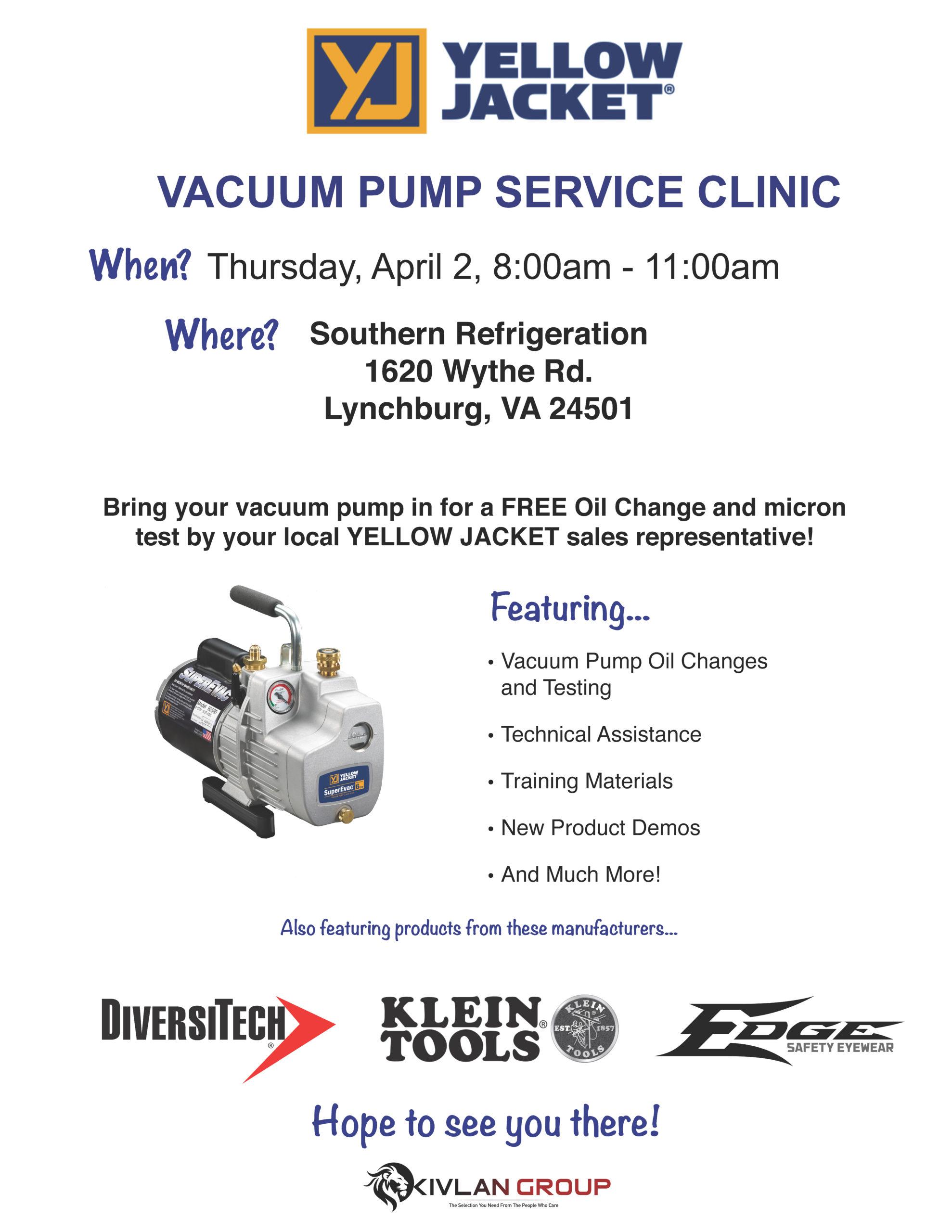 Yellow Jacket Vacuum Pump Service – Lynchburg @ Southern Refrigeration - Lynchburg
