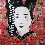 Geisha 84 inches x 84 inches mixed media on canvas