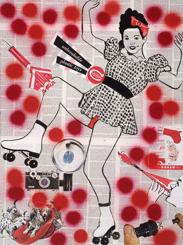 Rollergirl 45cm x 70cm jump mixed media on canvas