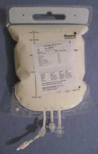 A 2 litre bag of parenteral nutrition.