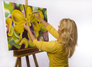 Adult Painting a flower