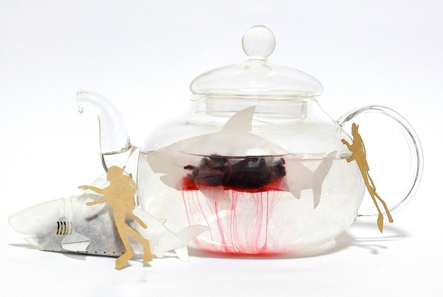 We're Gonna Need A Bigger Cup! SHARK Shaped Tea Bags Bleed Red Tea